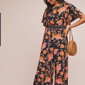 Anthropologie Belted Botanical jumpsuit, nwt 6